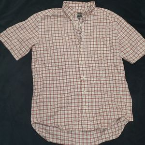 Orange and White Plaid Short Sleeve button down